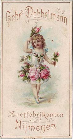 Vintage girl with pink roses on ad. Vintage Labels, Vintage Ephemera, Vintage Cards, Vintage Paper, Vintage Postcards, Vintage Pictures, Vintage Images, Old Advertisements, Vintage Advertising Signs