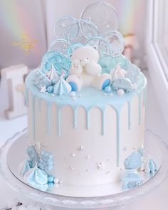 Amaziiing cake by Her cake is so original! Perfect for a baby shower YES OR NO? Amaziiing cake 🎈🎈🎈🎈🍭🍭🍭 by Baby Shower Cake Designs, Baby Shower Cakes For Boys, Baby Boy Cakes, Baby Boy Birthday Cake, Birtday Cake, Beautiful Cakes, Amazing Cakes, Christening Cake Boy, Gateau Baby Shower