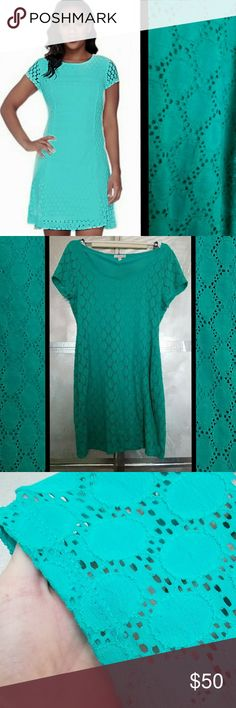 Aqua green lace eyelet dress Size large dress with sheer sleeves, but dress is lined and is fully opaque.  The skirt gets some slight pilling after waking but they can be cut off easily. Isaac Mizrahi Dresses Midi