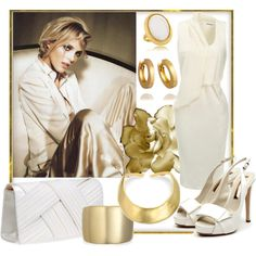 """Golden White Satin"" by jacque-reid on Polyvore"