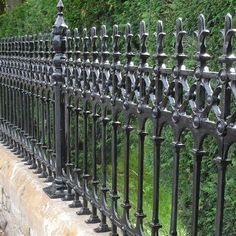 Stewart Cast Iron Fencing - Currently Out of Stock on Half Height Railing. Limited Stock on Full Height Railing - Heritage Cast Iron USA Rod Iron Fences, Iron Fence Gate, Fence Gate Design, Wrought Iron Fences, Cast Iron Railings, Cast Iron Fence, Garden Privacy, Garden Fencing, Victorian Fencing And Gates