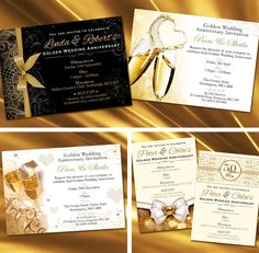 Personalised Golden Wedding Anniversary Invitations