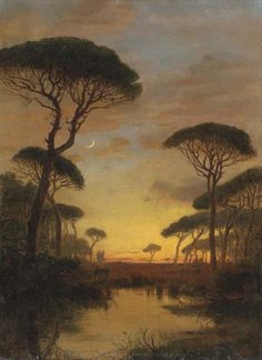 William Stanley Haseltine (American, 1835-1900), Evening Scene. Oil on canvas, 23 x 16¾ in.