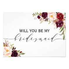Rustic Floral Will you be my bridesmaid | 2 sided Card - will you be my bridesmaid gifts wedding bride bridal