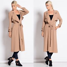 """""""Atelier"""" Belted Crepe Trench Coat Belted crepe trench coat. Available in burgundy and camel. This listing is for the CAMEL. Brand new. True to size. 95% polyester 5% spandex. NO TRADES. PRICE FIRM. PREORDER ONLY. Bare Anthology Jackets & Coats Trench Coats"""