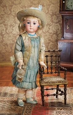 Outstanding All-Original French Bisque Bebe Triste by Emile Jumeau, Size 9.Circa 1884. http://Theriaults.com