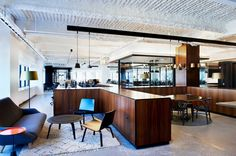 Love the use of furniture to section off area - Gensler and Tom Dixon/Design Research Studio have developed and completed the design of a new office space for McCann Erickson in New York City.