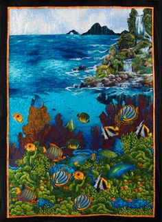 Rob Appell amazing designer & guess what class I'm taking tomorrow? Vogel Quilt, Ocean Quilt, Fabric Postcards, Bird Quilt, Landscape Quilts, Panel Quilts, Fish Art, Longarm Quilting, Mini Quilts