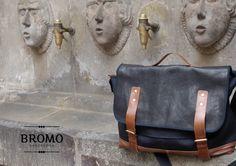 BROMO leather and black canvas satchel bag, with brown leather tabs. #BROMO #satchel #leather #canvas #black