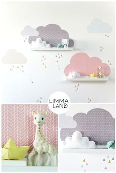 Clouds Nursery design with wall decals suitable for the IKEA Mosslanda (f . - Clouds Nursery design with wall tattoos suitable for the IKEA Mosslanda (formerly: RIBBA) picture b - Baby Boy Rooms, Baby Bedroom, Baby Room Decor, Nursery Room, Girls Bedroom, Ikea Mosslanda, Ikea Picture Frame, Ikea Pictures, Clouds Nursery