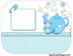 """Kit Personalizado """"Chá de Bebê"""" Menino para Imprimir - Convites Digitais Simples"""