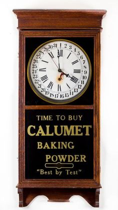 """SESSIONS REGULATOR NO. 2 OAK CALENDAR CLOCK Eight day time and strike calendar clock. 12 inch face. """"""""Time to buy Calumet Baking Powder """"""""Best by Test"""""""" antique clock"""