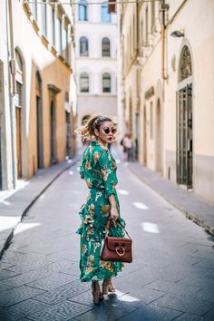Transition Summer Pieces into Fall and Winter // Notjessfashion.com // Green floral dress, Green floral maxi dress, green floral wrap dress, JW Anderson Pierce Bag, Blogger with JW Anderson Pierce, Summer Floral Dress, Feminine Summer Style, Asian blogger, New York Fashion Blogger, Curly Ponytail