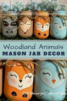 So cute Set of 4 hand-painted woodland animals mason jars deer raccoon owl aSo cute Set of 4 hand-painted woodland animals mason jars deer raccoon owl and fox Perfect for nursery baby shower or kids roomMason Jar Decor ad by kristina Pot Mason, Fall Mason Jars, Mason Jar Diy, Diy Hanging Shelves, Floating Shelves Diy, Mason Jar Projects, Mason Jar Crafts, Diy Home Decor Projects, Diy Projects To Try