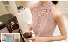 2015 New Arrival Fashion Women Beading Chiffon Blouse Fashion Sleeveless Women Turtleneck Chiffon Blouse Shirt Women Top 835i 57-in Blouses & Shirts from Women's Clothing & Accessories on Aliexpress.com | Alibaba Group