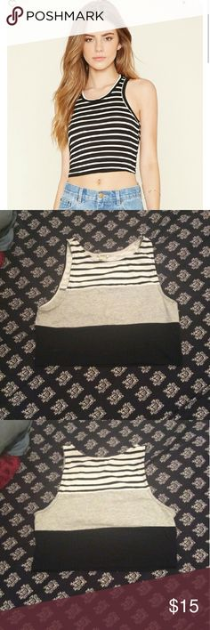 Forever 21 crop tops Forever 21 crop top, good condition. Size large but fits like a medium. Black,white gray. Forever 21 Tops Crop Tops