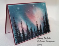 northern lights in the woods Making Greeting Cards, Christmas Cards, Winter Karten, Winter Cards, Watercolor Cards, Masculine Cards, Paper Cards, Blank Cards, Creative Cards