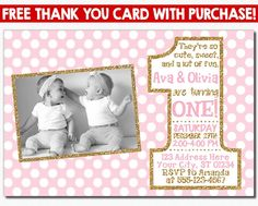 Twice as fun twins 1st birthday invitations baby related things twin birthday invitation pink and gold first birthday invitations twins 1st birthday invite on filmwisefo