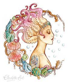 A4 Größe Art Print  Octopus Mermaid  Pin Up Illustration