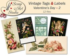Printable vintage tags and labels valentine's day love flower heart decor gift antique watercolour art printable card vintage design