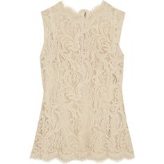 Dolce & Gabbana Guipure lace top ($495) ❤ liked on Polyvore featuring tops, cream, slimming slip, cream lace top, lace top, lacy slip and lace slip
