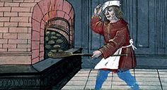 A baker in front of his oven. From a 15th-16th century Book of Hours, attributed to Jean Bourdichon