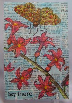 painted floral postc