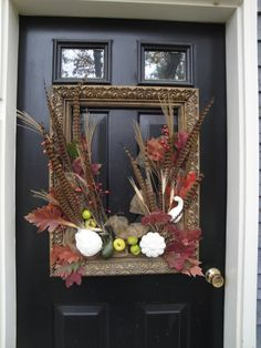 Fall Wreath. Love the old picture frame  Spectacular