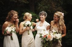 love the wild look of the bouquets - especially the bridesmaids!