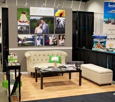bridal show booth idea - I would remove the furniture but I like the chair rail and wood flooring. Also like the skinny console table.
