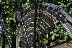 gotta love the crocheted bike skirt guards--decking out the bike!