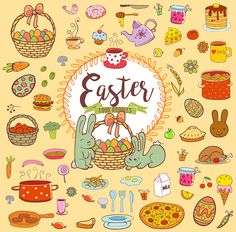 Easter holiday food in doodle style with Cute Easter rabbits