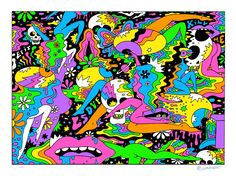 Limited edition fine art prints, signed and numbered by artist Oliver Hibert. Exclusive to Poster Child Prints. Tinta Neon, Street Art, Acid Art, Acid Trip Art, Hippie Art, Psychedelic Art, Figure Painting, Leg Painting, American Artists