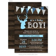 Navy blue and gray woodland buck deer baby shower invitations for a boy.