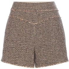 Chloé Wool-Blend Tweed Shorts ($1,105) ❤ liked on Polyvore featuring shorts, brown, multi colored shorts, brown shorts, colorful shorts, chloe shorts and tweed shorts