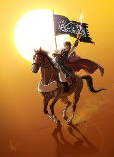 "Hamza ibn Abdul-Muttalib Also known as "" Lion of God"", Muhammad gave him the title Sayyid-ush-Shuhda (""Chief of the Martyrs""). Islamic Calligraphy, Calligraphy Art, Palestine Art, Indonesian Art, Hijab Cartoon, Shia Islam, Arabic Art, Islamic Pictures, Islamic Art"