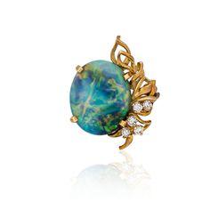 Important Jewels, Watches & Objects of Virtu - AU0846 Lots For Sale, Lightning Ridge, Diamond Brooch, Matte Gold, Diamond Cuts, Opal, Objects, Jewels, Antiques
