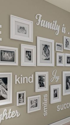 Photo Wall Decor, Family Wall Decor, Unique Wall Decor, Hallway Wall Decor, Family Wall Quotes, Family Wall Collage, Quote Wall, Family Theme, Cheap Wall Decor