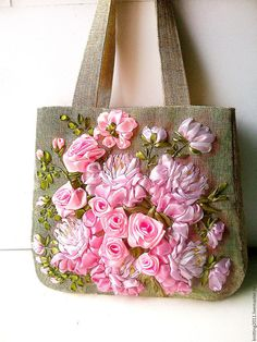 Embroidery Bag Flower Garden Hand embroidered by beautifullbags Embroidery  Needles da0715a4b7674