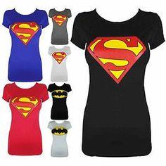 superhero tank tops for women | Womens Ladies Batman Superman Hero Comic Girls T Shirt Tank Top Size 8 ...