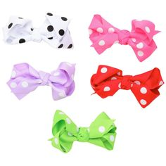 Polka Dot Set of 5 hair clip bows!