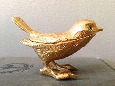 Vintage Florenza Gold Bird Pill Box Figurine With Tongs Green Gem Stone Eyes on Etsy, $35.50