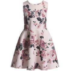 Monnalisa - Pink Floral Neoprene Dress | CHILDRENSALON Little Girl Outfits, Little Girl Fashion, Little Girl Dresses, Kids Outfits, Kids Fashion, Girls Dresses, Junior Dresses, Cute Dresses, Cotton Frocks