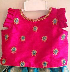 Pink and turquoise blue brocade girls lehenga with hand embroidery - kids lehenga Frock Design, Baby Dress Design, Frocks For Girls, Dresses Kids Girl, Kids Outfits, Baby Dresses, Wedding Dresses, Kids Blouse Designs, Saree Blouse Designs