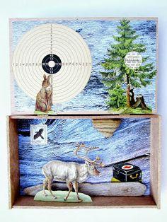 mano kellner, project 2013, kunstkiste nr 38, buntspecht Box Art, Art Boxes, Collage, Small Art, Moose Art, Animals, Dioramas, Mandalas, Paper Animals