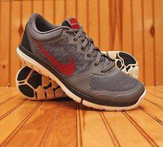 Nike Flex Run Size 7 - Dark Grey Gym Red Black White - 709022 002