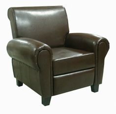 @Overstock - Add a stylish touch to your home decor with this bonded leather recliner club chair. This chair features espresso leather upholstery and wood frame. Chair comes with high-density foam for maximum comfort.http://www.overstock.com/Home-Garden/Espresso-Leather-Accent-Recliner-Club-Chair/6238094/product.html?CID=214117 $290.99