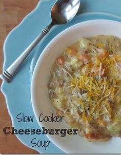 Slow Cooker Cheeseburger Soup your family will love!  Uses easy ingredients to make and tastes amazing!  #slowcooker #recipes #cheeseburgersoup