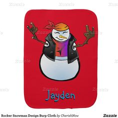 "Rocker Snowman Design Burp Cloth  Rocker Snowman Design, snowman with a bandana, leather jacket, red shirt with an electric guitar on it, and he has both arms up with this stick fingers making the ""metal horns sign"". Monogram text under design for buyer to customize for that special little one in your life.  Burp Cloths rock, punk, punk rock, for baby, monogram, personalize, monogram baby, snowman, rocker snowman, customize, baby shower, christmas, winter, burp cloth"