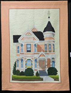 """""""The Pink Lady"""" by Russ Schmidt, quilted by Jan Hutchison. Photo by Cathy Geier's Quilty Art Blog: Shipshewana Quilt Festival 2015"""